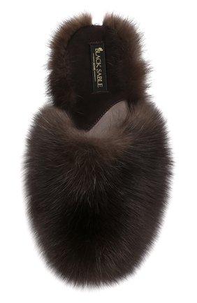 Женского домашние мюли enigma из меха соболя BLACK SABLE коричневого цвета, арт. BS-001M/EB   Фото 5