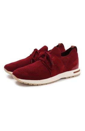 Женские текстильные кроссовки 360 lp walk LORO PIANA красного цвета, арт. FAL0096 | Фото 1 (Материал внешний: Текстиль; Материал внутренний: Натуральная кожа, Текстиль; Подошва: Платформа)