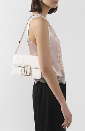 Женская сумка из кожа аллигатора TOM FORD белого цвета, арт. L1262E-EAL001/AMIS | Фото 2