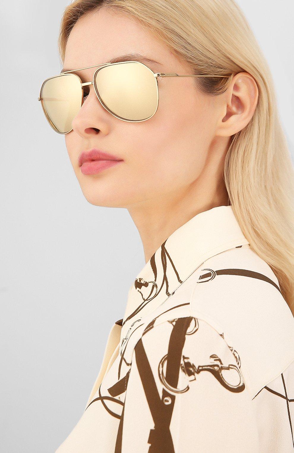 Женские солнцезащитные очки DOLCE & GABBANA золотого цвета, арт. 2166-K02/F9 | Фото 2