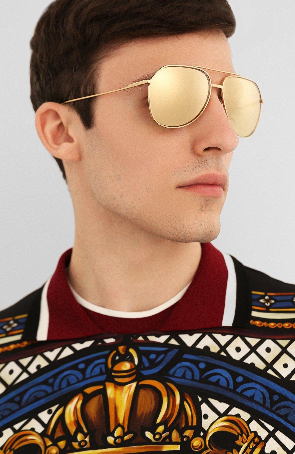 Женские солнцезащитные очки DOLCE & GABBANA золотого цвета, арт. 2166-K02/F9 | Фото 3