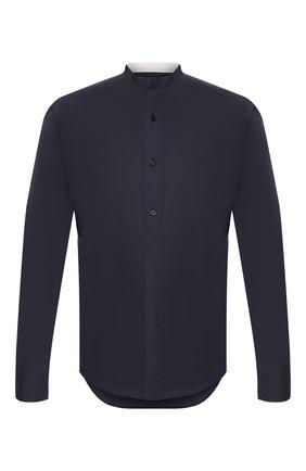 Мужская хлопковая рубашка ZILLI темно-синего цвета, арт. MFT-YD001-13037/RS01   Фото 1