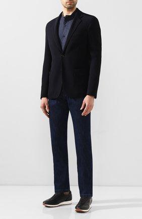 Мужская хлопковая рубашка ZILLI темно-синего цвета, арт. MFT-YD001-13037/RS01   Фото 2