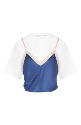 Женская футболка из смеси шелка и хлопка ALEXANDER WANG синего цвета, арт. 1WC1201287 | Фото 1