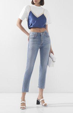 Женская футболка из смеси шелка и хлопка ALEXANDER WANG синего цвета, арт. 1WC1201287 | Фото 2