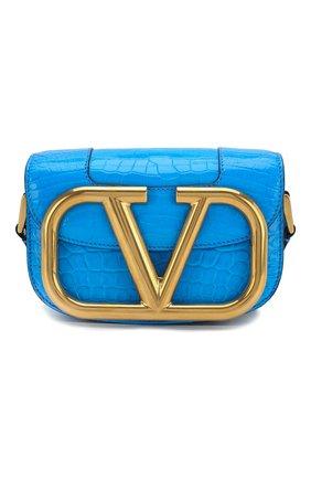 Женская сумка valentino garavani supervee из кожи аллигатора VALENTINO синего цвета, арт. TW0B0G45/WAI/AMIS | Фото 1