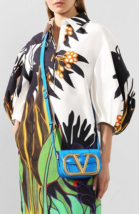 Женская сумка valentino garavani supervee из кожи аллигатора VALENTINO синего цвета, арт. TW0B0G45/WAI/AMIS | Фото 2