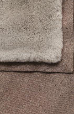 Мужского кашемировый плед с мехом LORO PIANA бежевого цвета, арт. FAG4838 | Фото 2