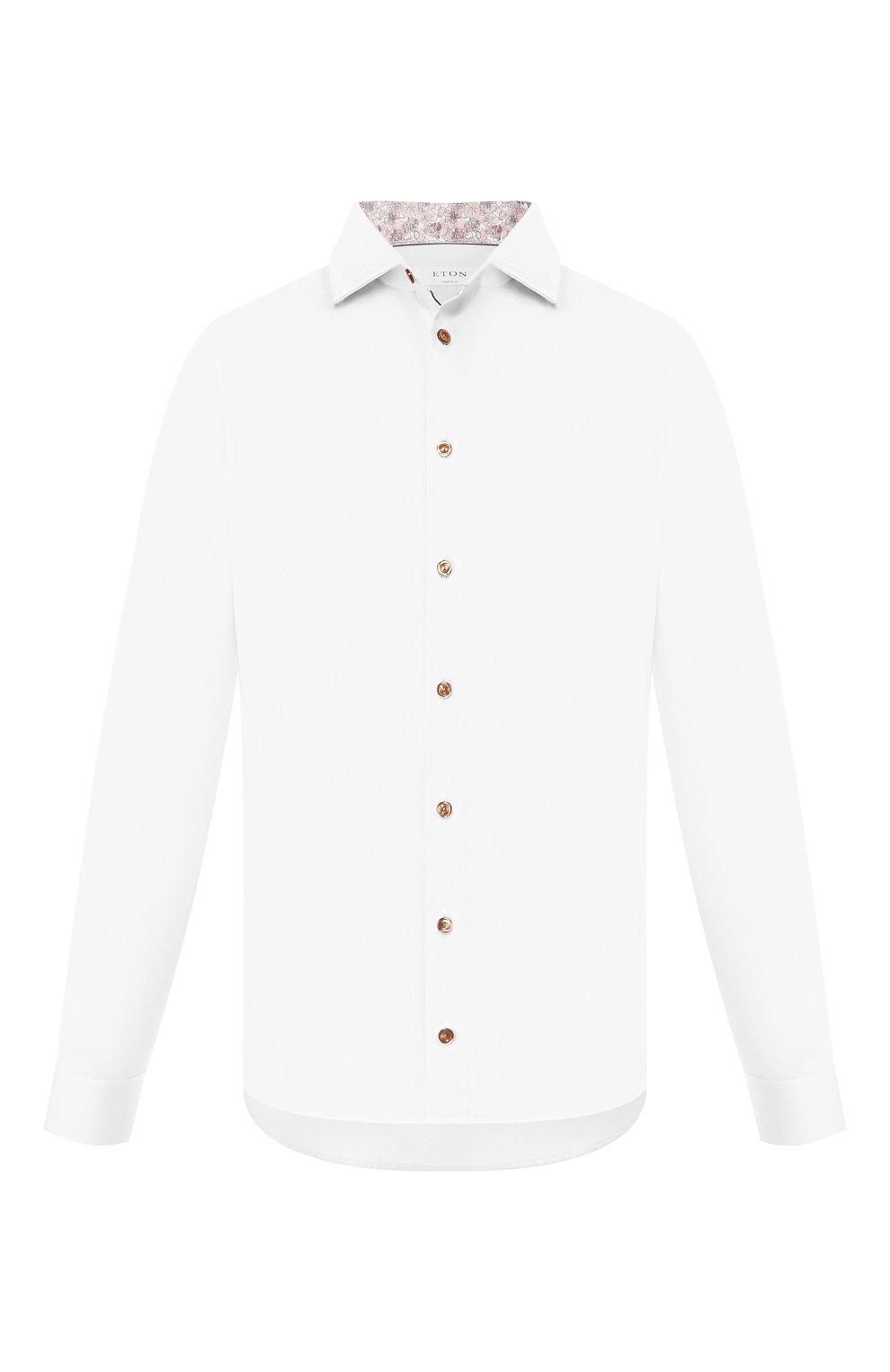 Мужская хлопковая сорочка ETON белого цвета, арт. 1000 01392   Фото 1 (Рукава: Длинные; Длина (для топов): Стандартные; Материал внешний: Хлопок; Случай: Формальный)
