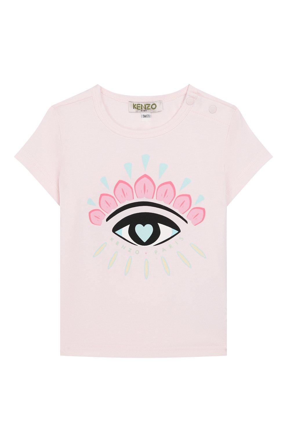 Детский хлопковая футболка KENZO розового цвета, арт. KQ10017 | Фото 1
