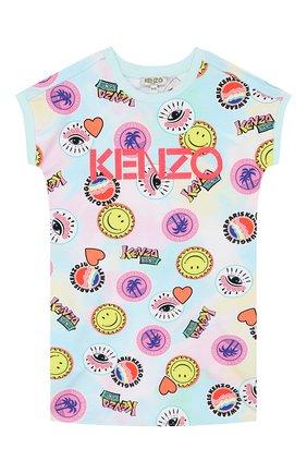 Детское хлопковое платье KENZO разноцветного цвета, арт. KQ30018 | Фото 1 (Случай: Повседневный; Рукава: Короткие; Ростовка одежда: 10 - 11 лет | 140 - 146см, 3 года | 98 см, 4 года | 104 см, 6 лет | 116 см, 8 лет | 128 см)