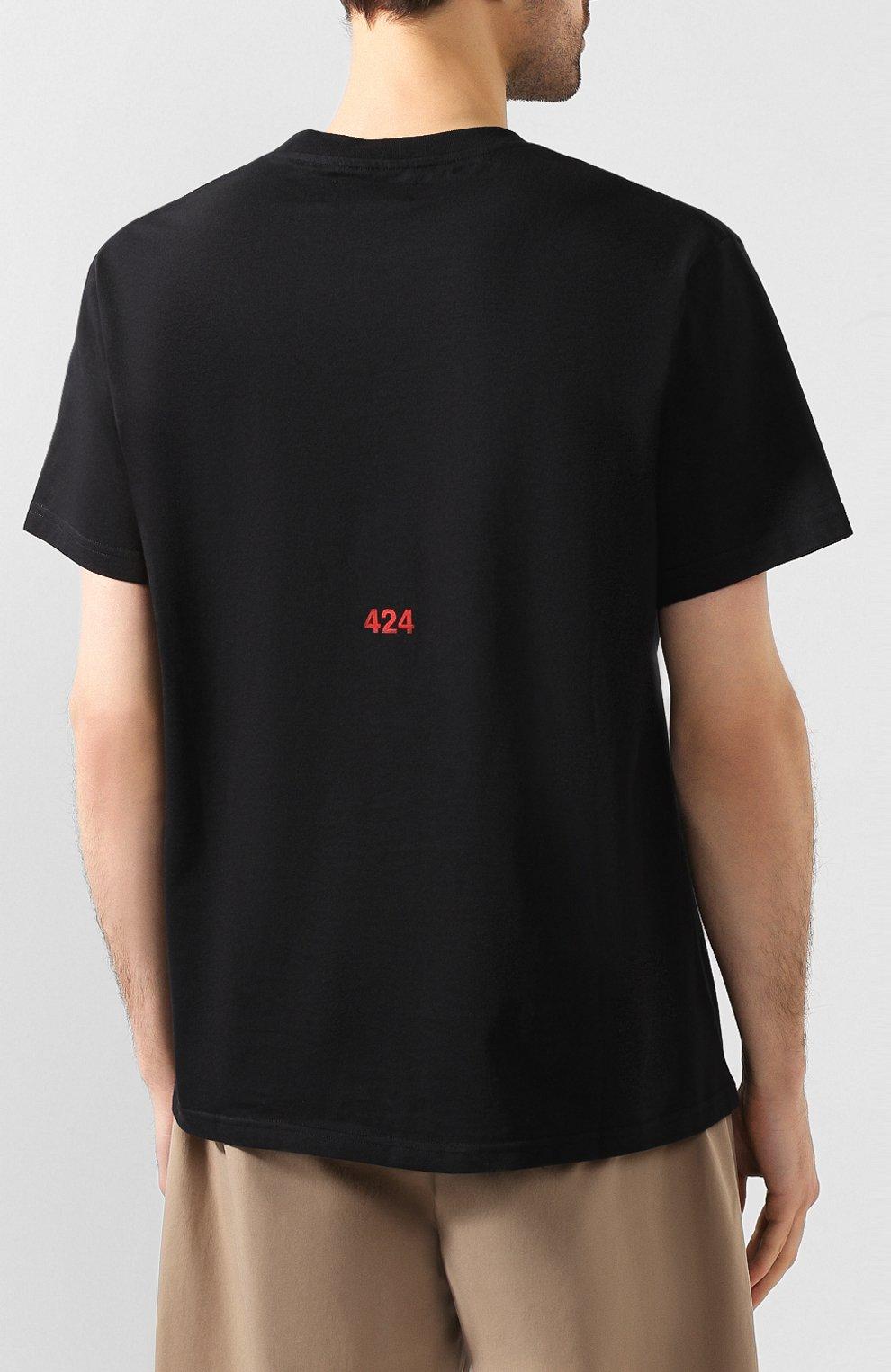 Мужская хлопковая футболка 424 черного цвета, арт. 8022.059.0999 | Фото 4