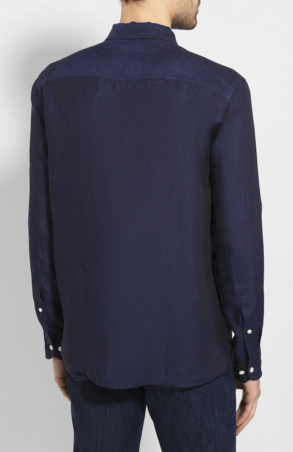 Мужская льняная рубашка ETON темно-синего цвета, арт. 1000 01340 | Фото 4