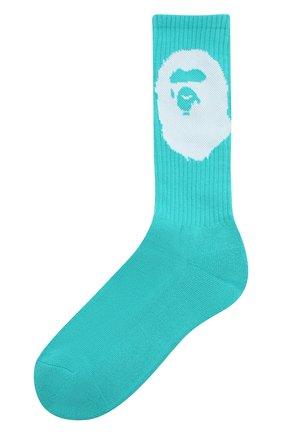 Мужские хлопковые носки BAPE бирюзового цвета, арт. 1G30183003 | Фото 1