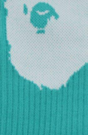 Мужские хлопковые носки BAPE бирюзового цвета, арт. 1G30183003 | Фото 2