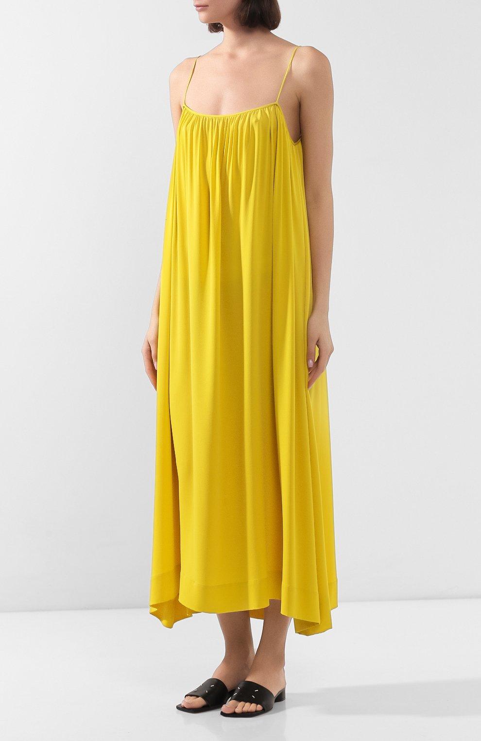 Женское шелковое платье THE ROW желтого цвета, арт. 4927W1623 | Фото 3