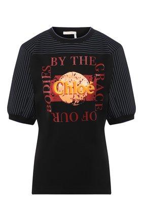 Женская хлопковая футболка CHLOÉ черного цвета, арт. CHC20UJH08288 | Фото 1