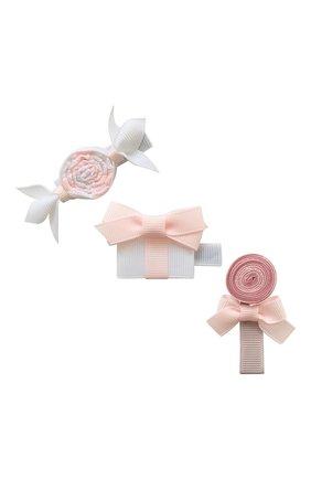 Детская набор из трех заколок MILLEDEUX розового цвета, арт. A77 | Фото 1