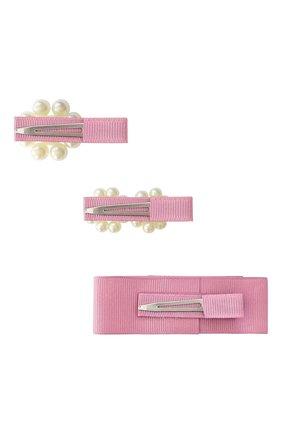 Детская набор из трех заколок MILLEDEUX розового цвета, арт. PGC08 | Фото 2