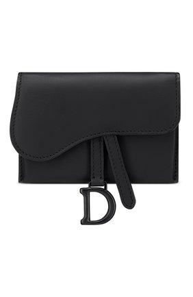 Женские кожаный кошелек на цепочке saddle mini DIOR черного цвета, арт. S5654SLLOM989 | Фото 1