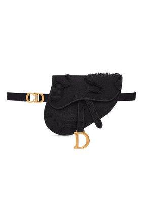 Женская поясная сумка saddle DIOR черного цвета, арт. S5632CWAHM989   Фото 1