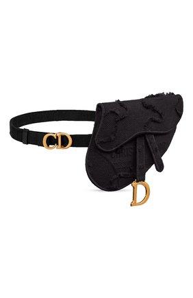 Женская поясная сумка saddle DIOR черного цвета, арт. S5632CWAHM989   Фото 2