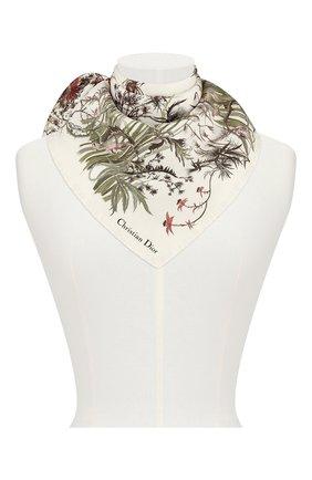 Женский шелковый платок le jardin sauvage DIOR белого цвета, арт. 02JAS055I602C086 | Фото 1