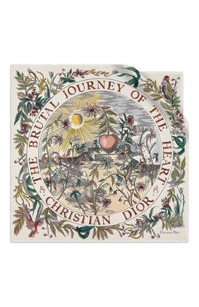 Женский шелковый платок brutal journey of the heart DIOR белого цвета, арт. 02JHB070I612C084 | Фото 1