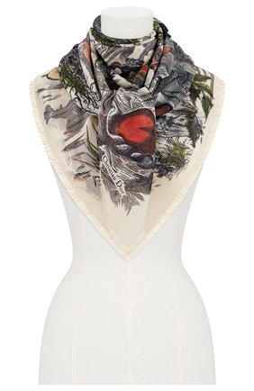 Женский шерстяной платок brutal journey of the heart DIOR белого цвета, арт. 02JHE140I170C083 | Фото 2