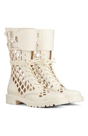 Женские кожаные ботинки d-trap DIOR бежевого цвета, арт. KCI601CFMS03W | Фото 2