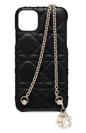 Мужской кожаный чехол lady dior для iphone 11 pro max DIOR черного цвета, арт. S0742ONMJM900 | Фото 1