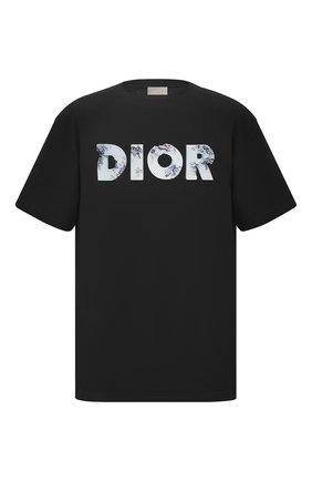 Мужская хлопковая футболка DIOR черного цвета, арт. 023J615B0554C988 | Фото 1