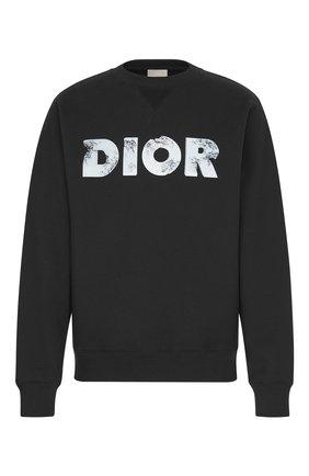 Мужской хлопковый свитшот DIOR черного цвета, арт. 023J604A0531C988 | Фото 1