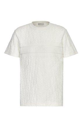 Мужская хлопковая футболка DIOR белого цвета, арт. 943J605E0602C020 | Фото 1
