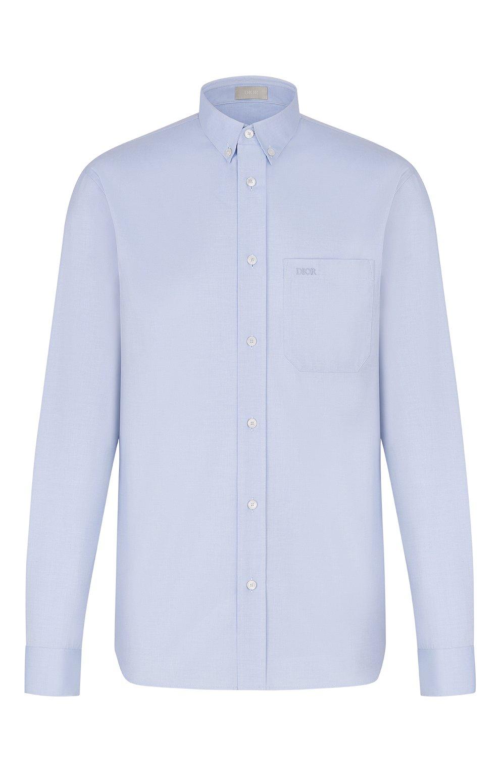 Мужская хлопковая рубашка DIOR синего цвета, арт. 013C530A4738C500 | Фото 1