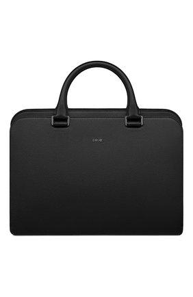 Мужской кожаный портфель DIOR черного цвета, арт. 1DSBR132YMJH43E   Фото 1