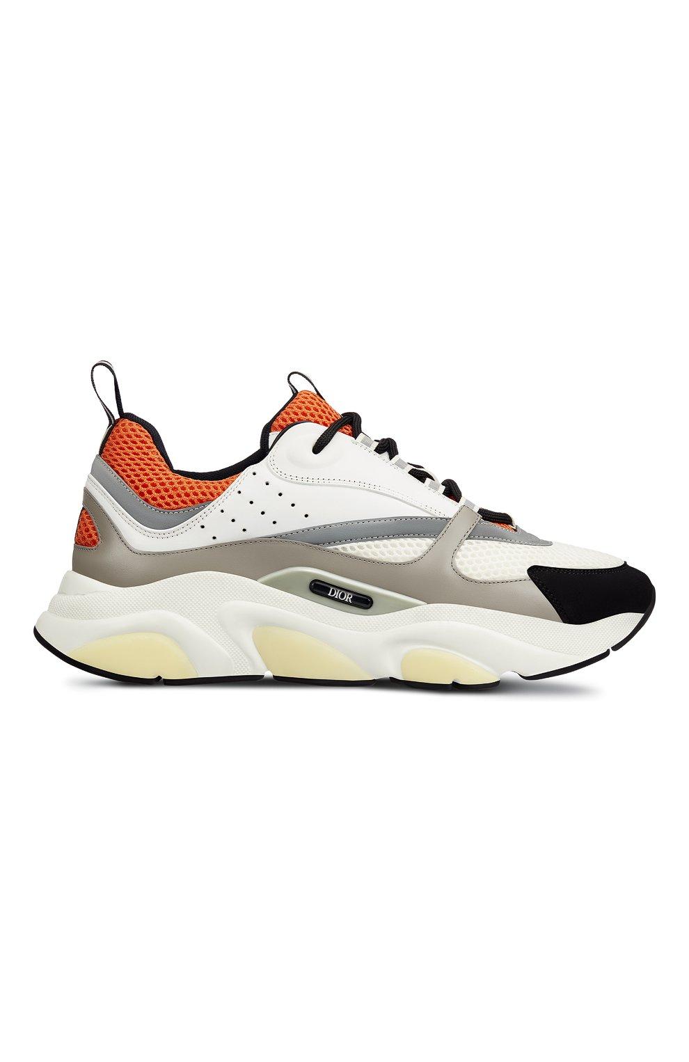 Мужские комбинированные кроссовки b22 DIOR оранжевого цвета, арт. 3SN231YULH063   Фото 1