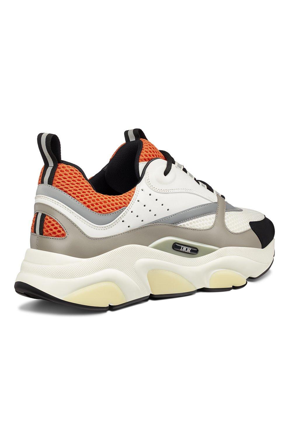 Мужские комбинированные кроссовки b22 DIOR оранжевого цвета, арт. 3SN231YULH063   Фото 3