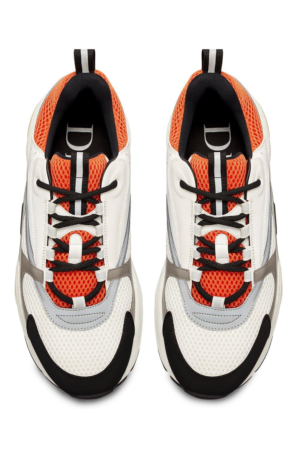 Мужские комбинированные кроссовки b22 DIOR оранжевого цвета, арт. 3SN231YULH063   Фото 4