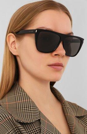 Женские солнцезащитные очки SAINT LAURENT серого цвета, арт. SL 1 | Фото 2 (Тип очков: С/з; Очки форма: D-форма, Прямоугольные; Оптика Гендер: оптика-женское)