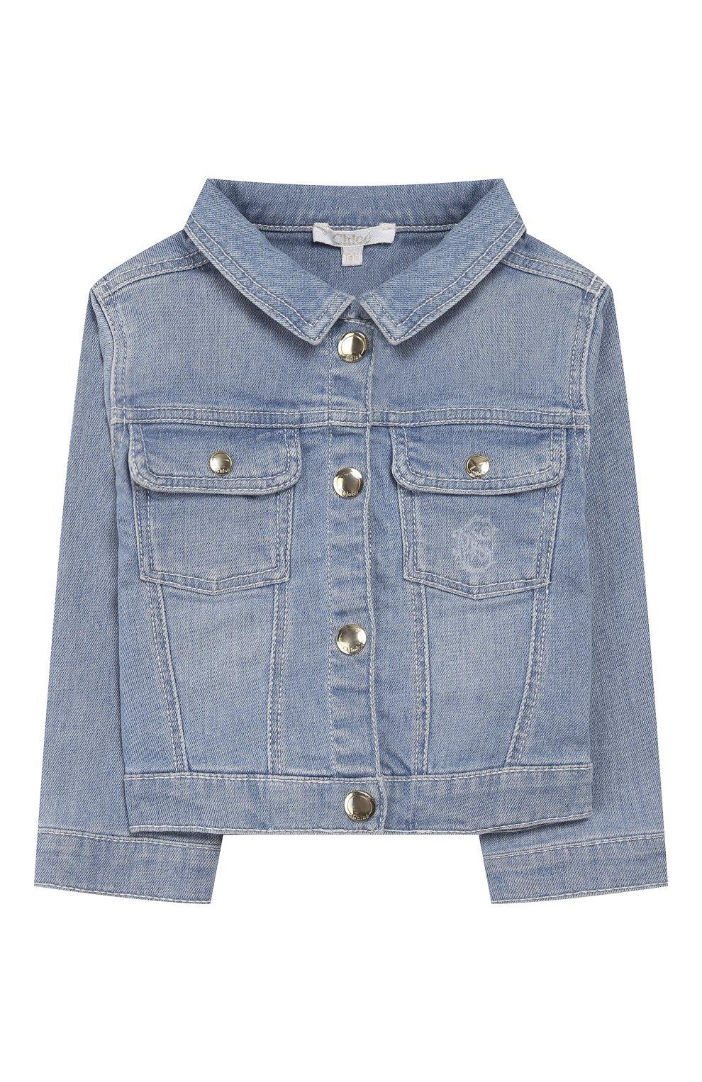 Детского джинсовая куртка CHLOÉ голубого цвета, арт. C06100 | Фото 1