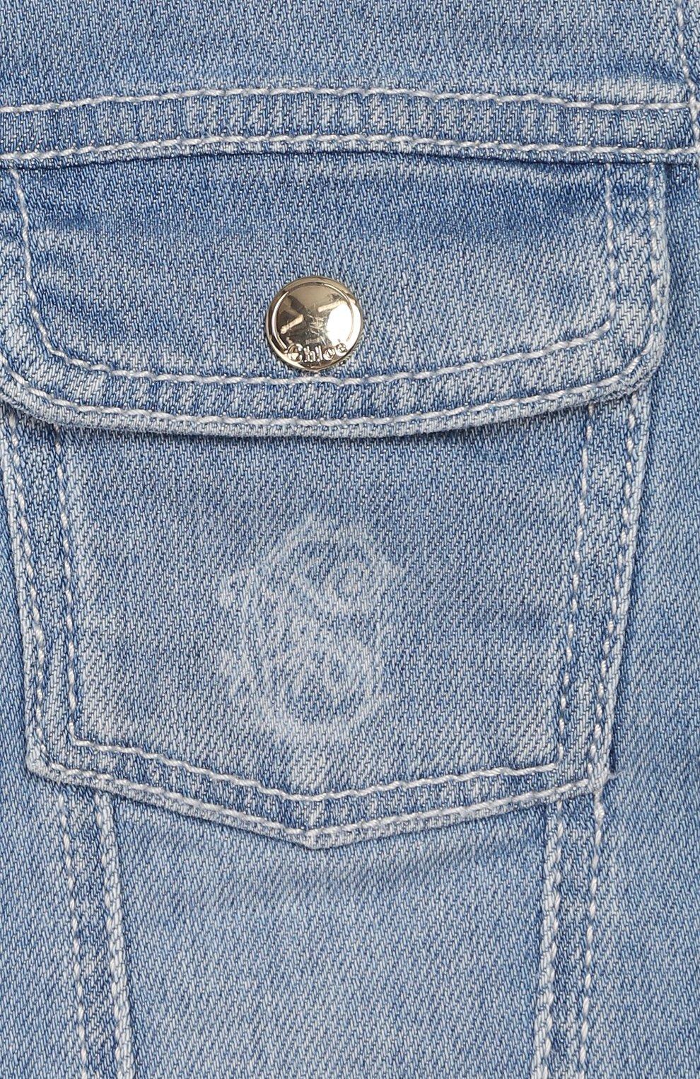 Детского джинсовая куртка CHLOÉ голубого цвета, арт. C06100 | Фото 3