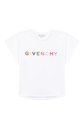 Детская хлопковая футболка GIVENCHY белого цвета, арт. H15155 | Фото 1
