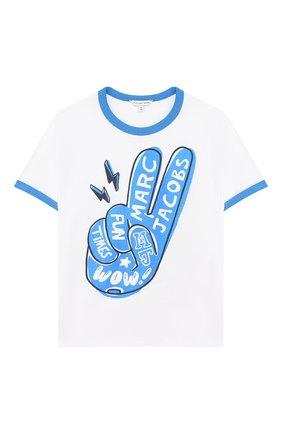 Детская хлопковая футболка MARC JACOBS (THE) белого цвета, арт. W25419 | Фото 1