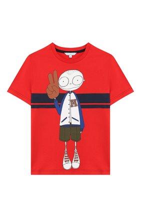 Детская хлопковая футболка MARC JACOBS (THE) красного цвета, арт. W25414 | Фото 1