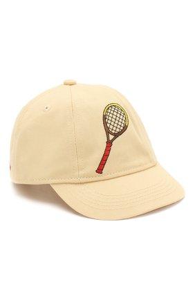Детская хлопковая кепка MINI RODINI желтого цвета, арт. 20265103 | Фото 1
