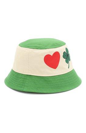 Детская хлопковая панама MINI RODINI зеленого цвета, арт. 20265109 | Фото 1