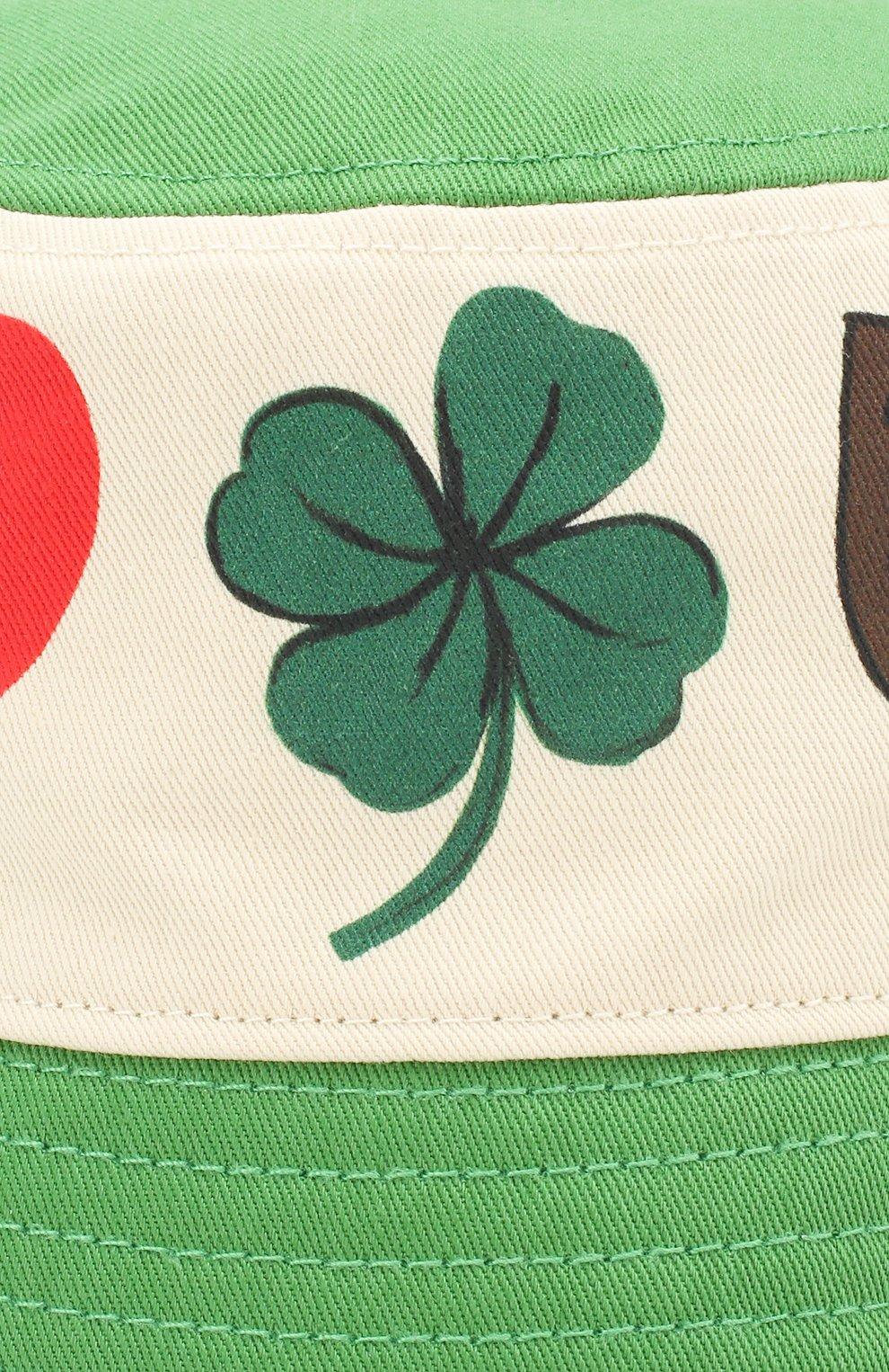 Детская хлопковая панама MINI RODINI зеленого цвета, арт. 20265109 | Фото 3