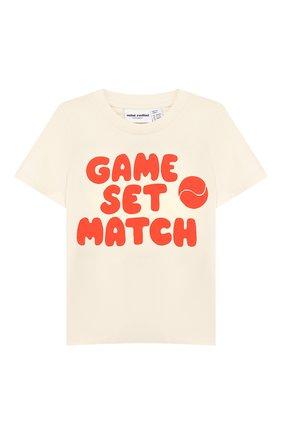 Детская хлопковая футболка MINI RODINI красного цвета, арт. 20220140 | Фото 1