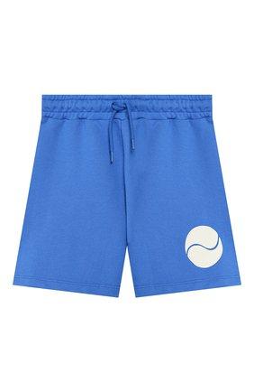 Детские хлопковые шорты MINI RODINI синего цвета, арт. 20230145 | Фото 1